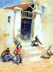Figures at a Kampong Entrance