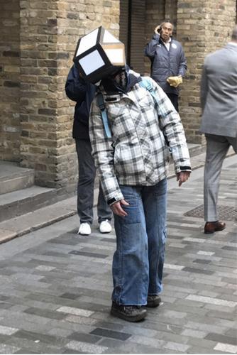 Lady trying on helmet