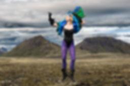 Belinda Wilson Self Portrait Photograph Woman Landscape  Iceland Peacock Purple