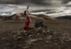 Belinda Wilson Self Portrait Photograph Woman Landscape Rocks Iceland