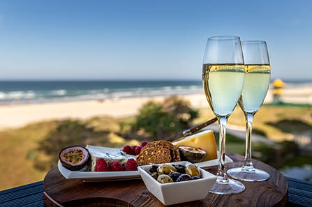 Wine and cheese overlooking Queensland beaches