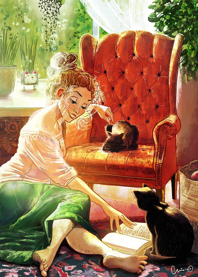Chelsey reads to her cats