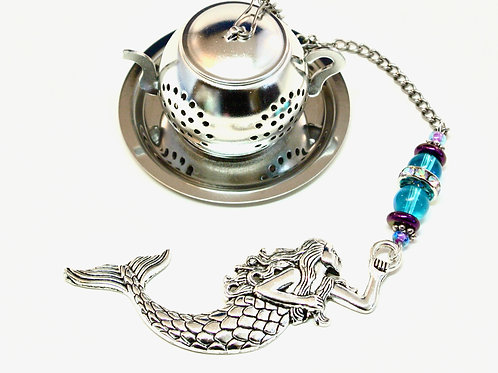 Mermaid Tea Infuser with Blue and Purple Beads