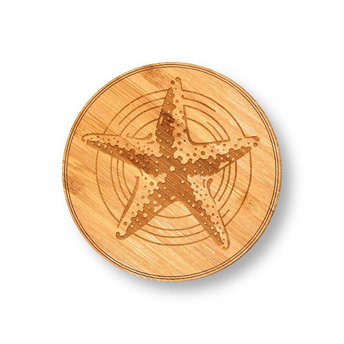 """Wooden Coasters 4"""" (Starfish in Bamboo) 4-Pack"""