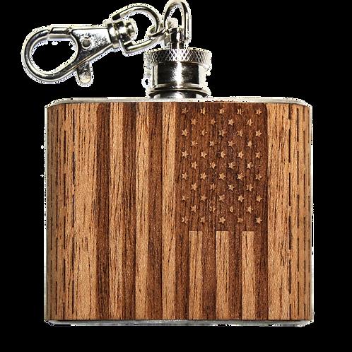 2 Oz American Flag Keychain Flask