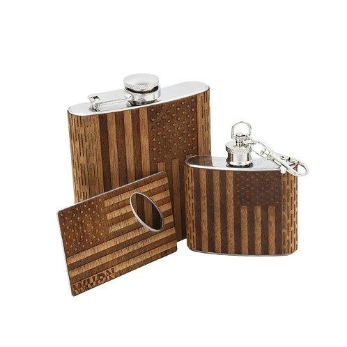 3-Piece Wooden Flask Set6 Oz. Hip Flask, 2 Oz. Keychain Flask Credit Card Opener