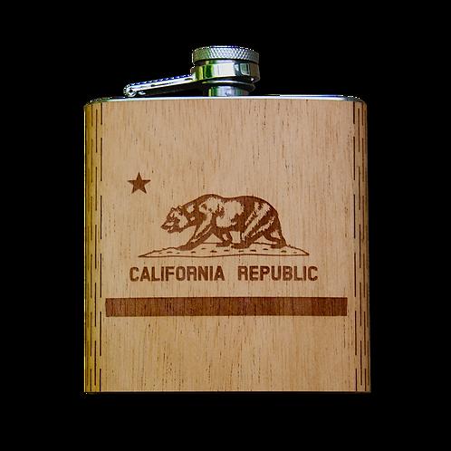 6 Oz. Wooden Hip Flask (California Republic Flag in Mahogany)