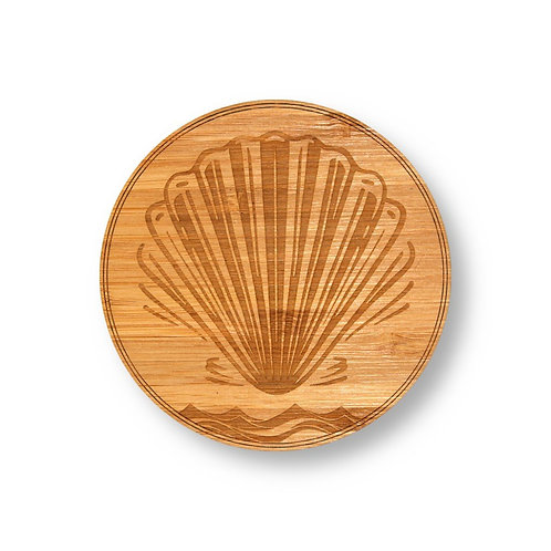"""Wooden Coasters 4"""" (Sea Shell in Bamboo) 4-Pack"""
