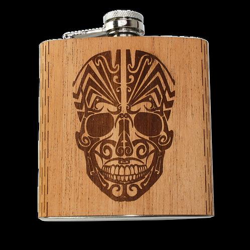 6 Oz. Wooden Hip Flask (Dio De Los Muertos - Day of the Dead)