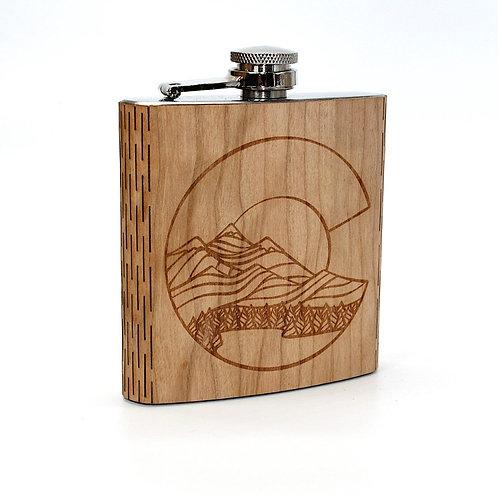Colorado Landscape 6 Oz. Wooden Hip Flask - Art by Ben McKenzie)