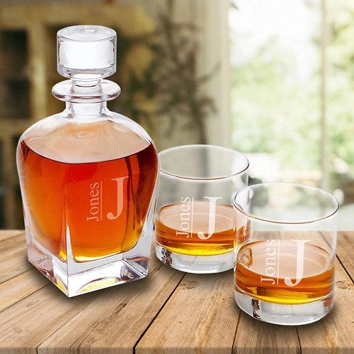 Antique 24 Oz. Whiskey Decanter Gift Set - Stopper & 2 Lowball Glasses
