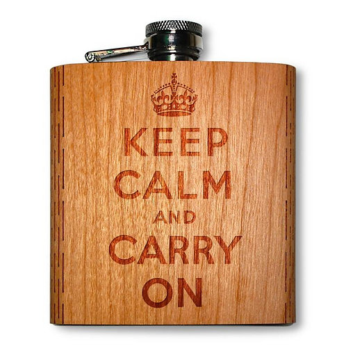 6 Oz. Wooden Hip Flask (Keep Calm in American Cherry)
