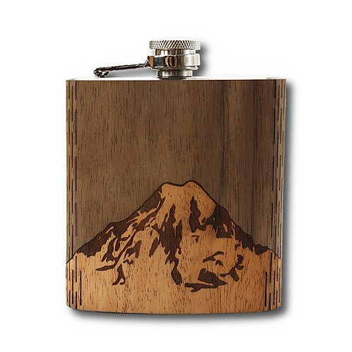 6 Oz. Wooden Hip Flask (Mt. Rainier in Mahogany & Black Walnut)