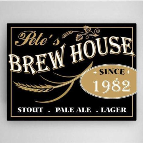 Personalized Brew House Canvas Sign