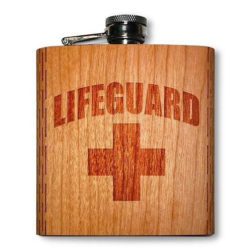 6 Oz. Wooden Hip Flask (Lifeguard in American Cherry)