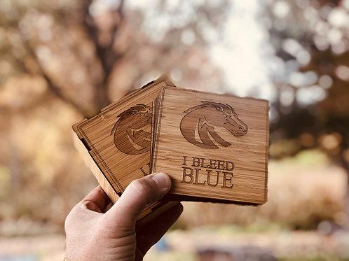 Solid Bamboo Coasters & Matching Box   BSU Broncos