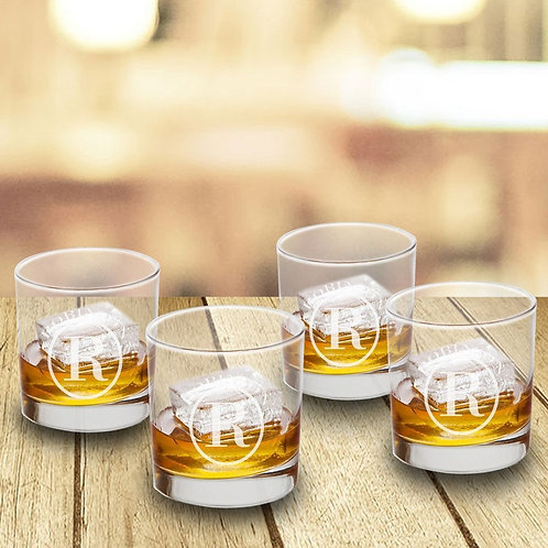 Personalized Lowball Whiskey Glasses - Set of 4 - Old Fashioned Glass Set