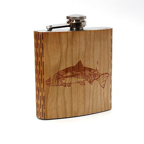 Salmon Night Landscape 6 Oz. Wooden Hip Flask  - Art by Ben McKenzie