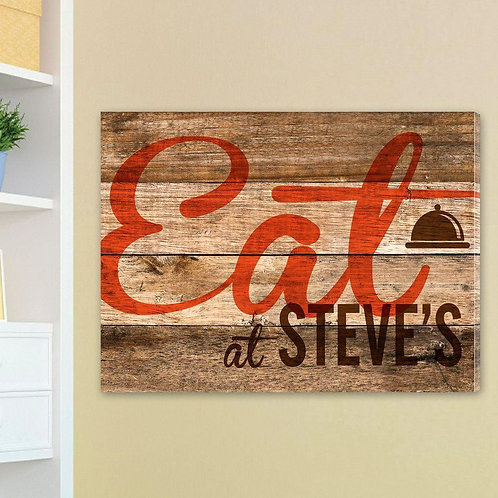 Reclaimed Wood Kitchen Family Canvas Sign