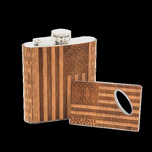 6 Oz. Wooden Hip Flask & Matching Credit Card Bottle Opener (2-Piece Flask Set)