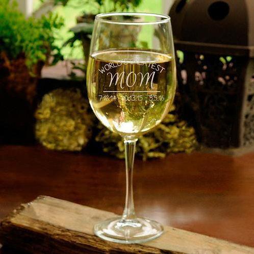 World's Greatest Mom White Wine Glass