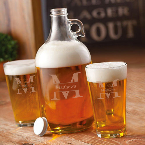 64 Oz. Personalized Growler Set With 2 Pub Glasses