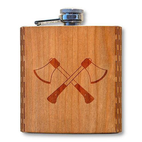 6 Oz. Wooden Hip Flask (Hatchets in American Cherry)