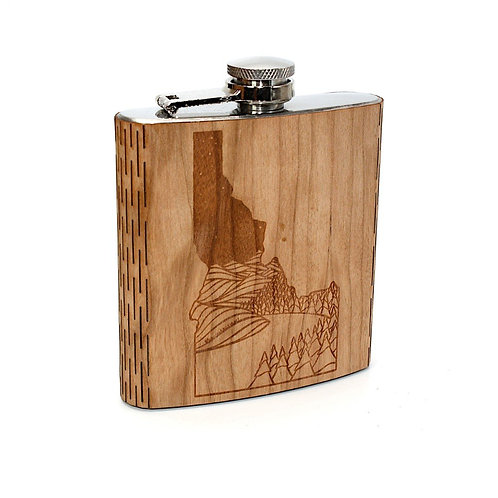 Idaho Landscape 6 Oz. Wooden Hip Flask Series - Art by Ben McKenzie