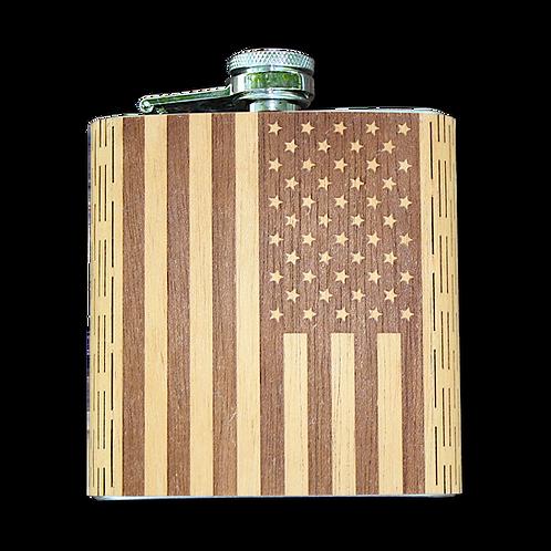 6 Oz Wooden American Flag Hip Flask