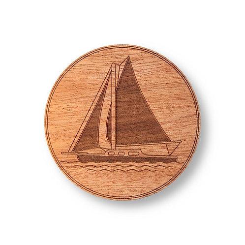 "Wooden Coasters 4"" (Sailboat in Mahogany) 4-Pack"