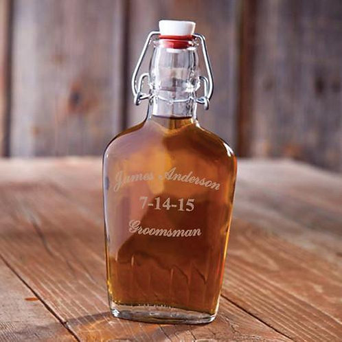 Personalized Vintage Style Glass Flask
