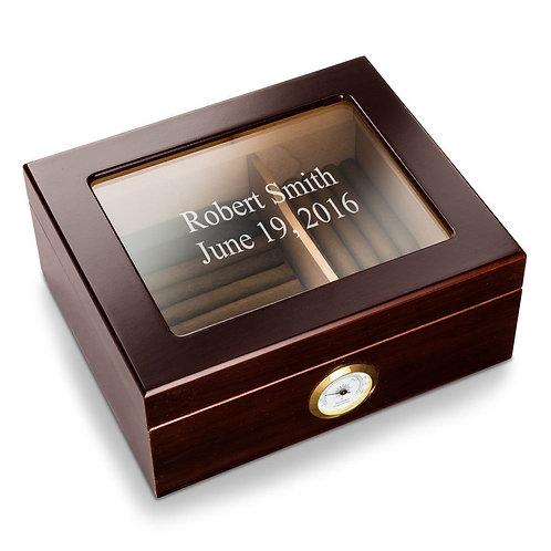 Personalized Mahogany Glass Top Humidor