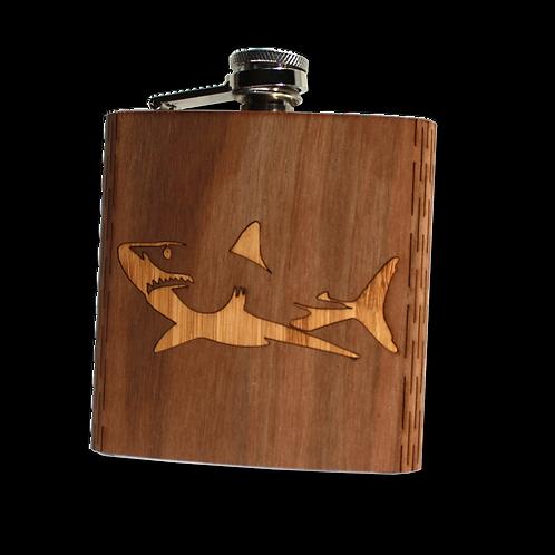 6 Oz. Wooden Hip Flask - Great White Shark