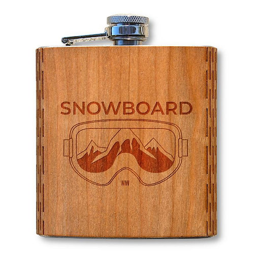 6 Oz. Wooden Hip Flask (Snowboard in American Cherry)