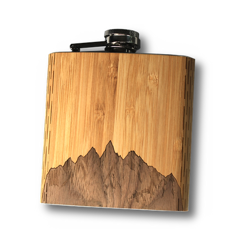 6 Oz. Wooden Hip Flask (Sawtooth Mountains in Bamboo & Black Walnut)