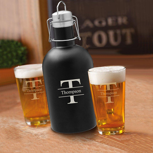 64 Oz. Personalized Growler Set in Black