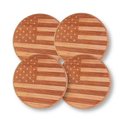 """Wooden Coasters 4"""" (American Flag in Mahogany) 4-Pack"""