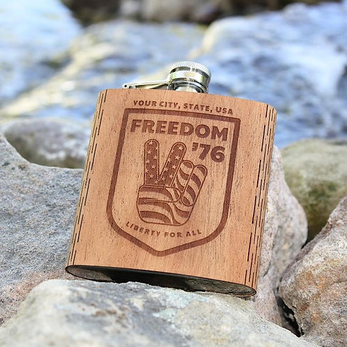 6 Oz. Wooden Hip Flask - Freedom '76 Collection
