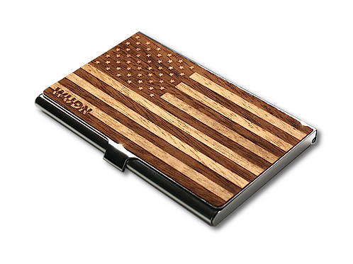 American Flag Wooden Business Card Holder