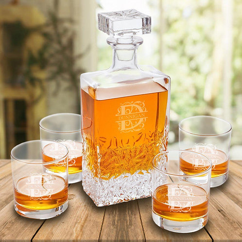 Kinsale 24 Oz. Whiskey Decanter Set With 4 Lowballs