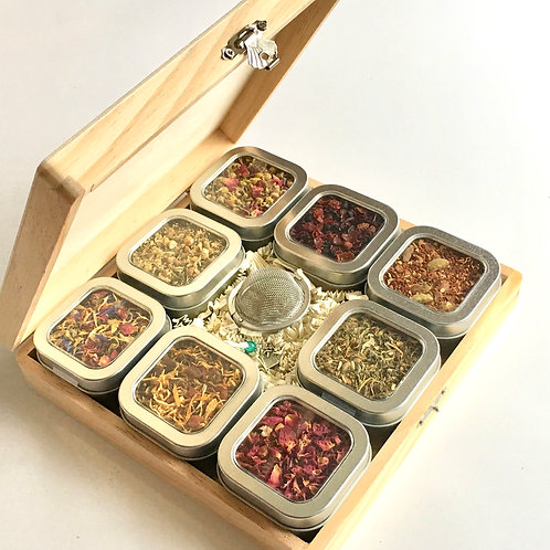 Herbal Tea Sampler Gift Box with 8 Tins of Tea
