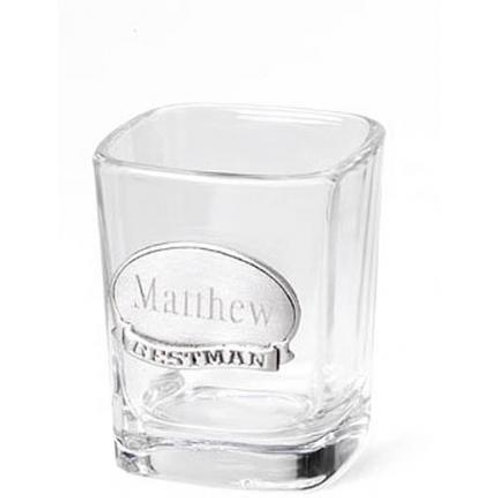 Shot Glass W/Pewter Medallion