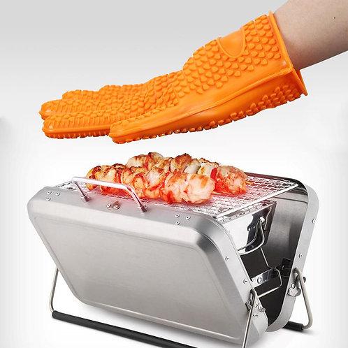 Silicone Heat Resistant Gloves Oven Grill Pot Holder Mitt Kitchen