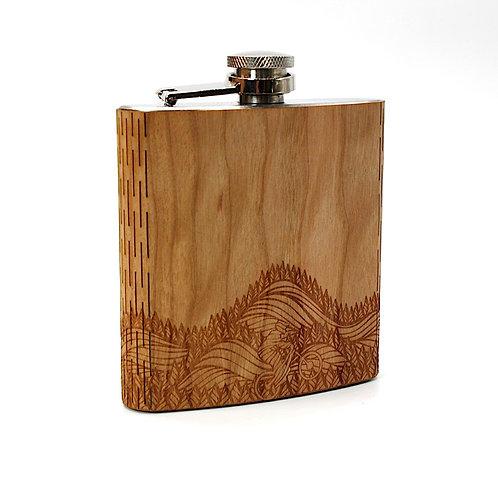 Mountain Biker 6 Oz. Wooden Hip Flask - Art by Ben McKenzie
