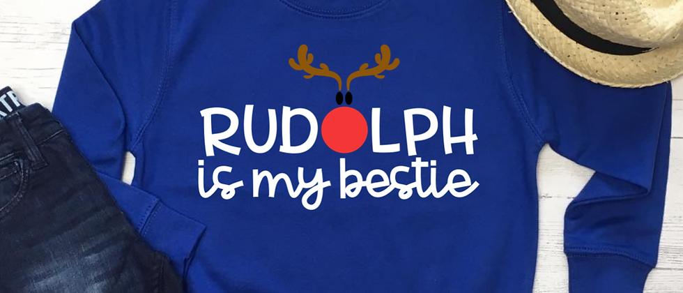 Rudolph Is My Bestie Christmas Kids' Sweatshirt