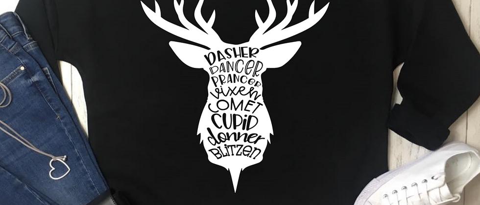 Reindeer Names Stag Head Christmas Luxury Oversized Sweatshirt