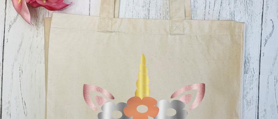 Personalised Metallic Unicorn Canvas Classic Shopper