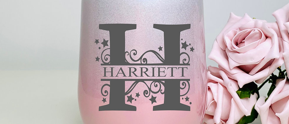Monogram Letter Insulated Double Wall Stemless Wine Glass