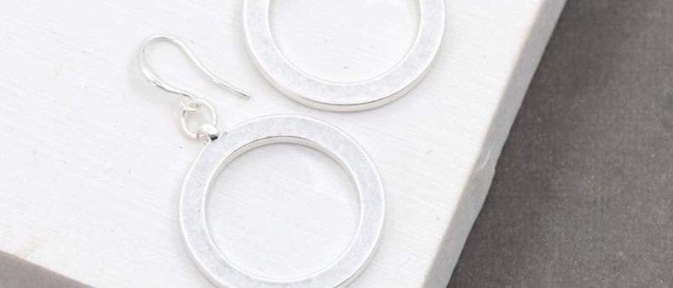 Silver Circle Motif Fish Hook Earrings
