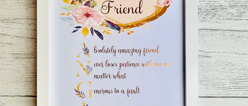 Personalised Best Friend Acrostic Foil Print